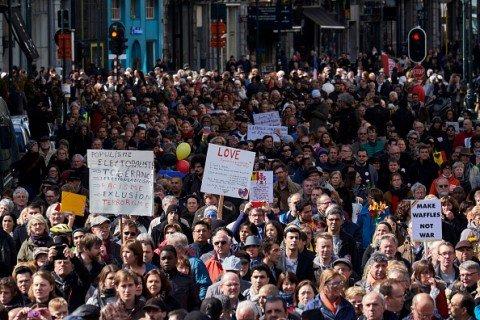 Bruxelles, in 4mila alla 'Marcia contro la paura'