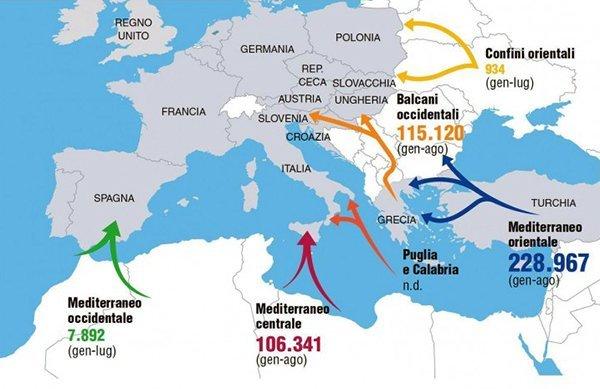 Clandestini arrivati nel 2015 attraverso le principali rotte migratorie