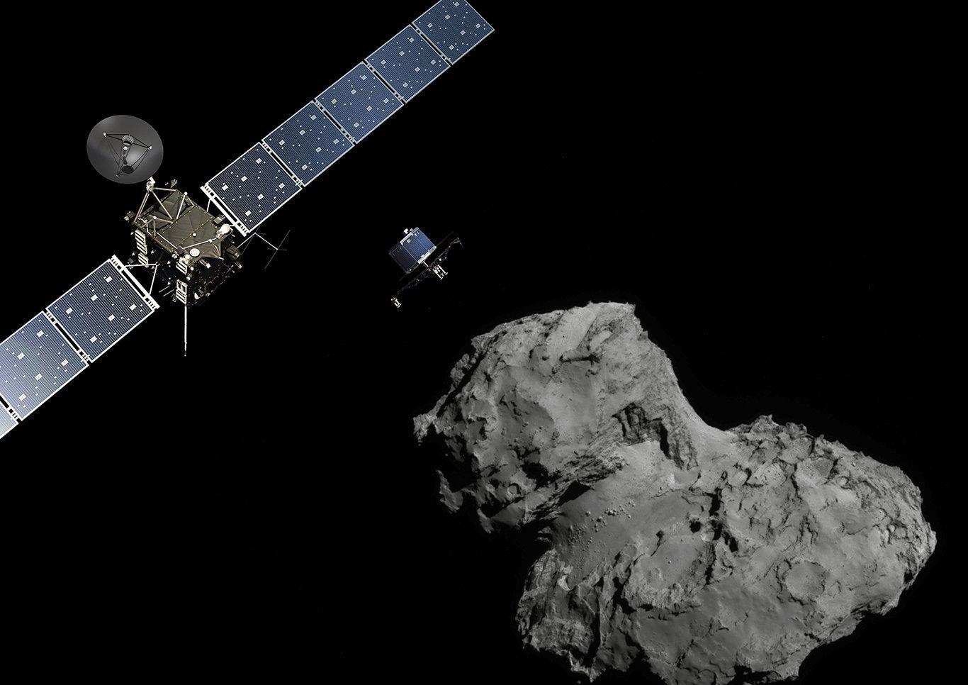 Artist's impression of Rosetta and Philae at the comet. Credit: ESA/ATG medialab; Comet image: ESA/Rosetta/NavCam