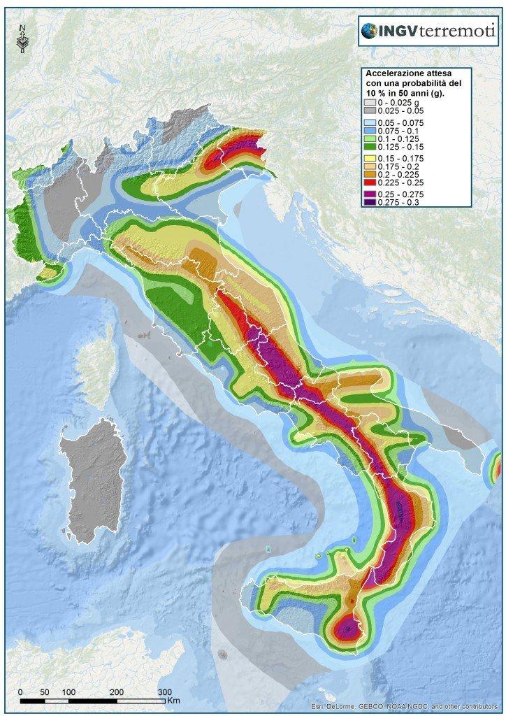 La pericolosità sismica del territorio nazionale (Ordinanza PCM n. 3519/2006, http//zonesismiche.mi.ingv.it/)