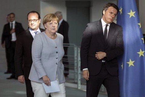 Renzi, strappo con Merkel e Hollande su migranti e crescita