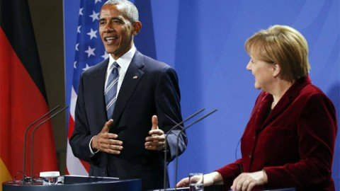 "Berlino, la Cancelliera incontra Obama. Merkel: ""Farò di tutto per collaborare con Trump"""