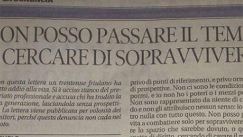 """Udine, la lettera di un trentenne suicida: """"Appartengo a una generazione senza futuro"""""""