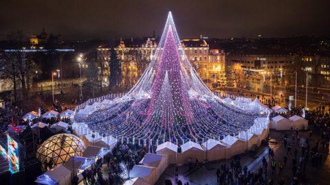 A Vilnius un albero da 70.000 lampadine
